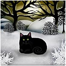 CafePress Black CAT Winter Sunset Tile Coaster, Drink Coaster, Small Trivet
