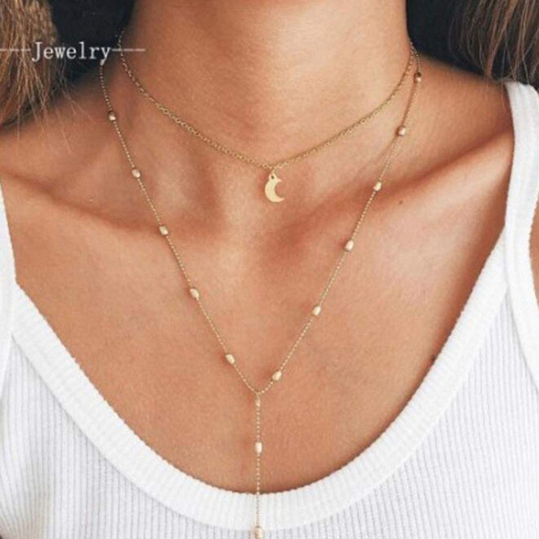 Avanlin Layered Moon Pendant Necklaces Gold Beaded Y Necklace Choker Chain Jewelry for Women and Girls