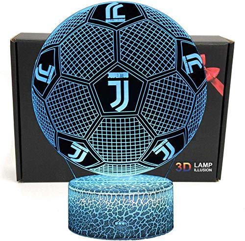 3D Football Shape 3D Optical Illusion Smart 7 colori LED Lampada da tavolo a luce notturna con cavo di alimentazione USB, per regalo di tifosi di Serie A (Juventus)