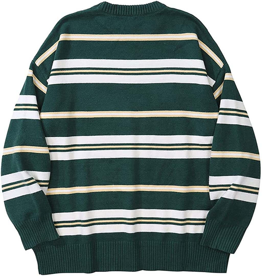 KCLDFJ Harajuku Vintage Green Striped Knitted Sweater Men's Hip Hop Sweater Knitted Pullover