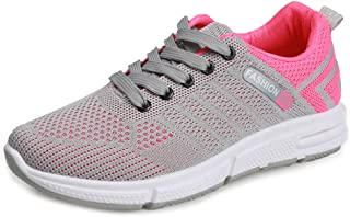AUCDK Women Casual Trainers Breathable Knit Mesh Athletic Sneakers Flat Travel Work Shopping Trainers