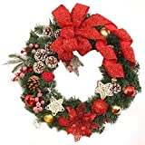 Hot Sale!!35cm Christmas Large Wreath Door Wall Ornament Garland Decoration Red Bowknot - Home Decor (Red)