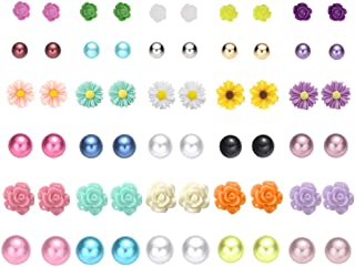 36 Pairs Mix Pearls Ball Daisy Rose Flower Assorted Earrings Studs Set, Hypoallergenic