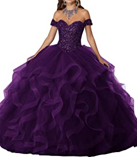 WHZZ 2019 Crystal Beaded Off The Shoulder Tulle Ruffles Sweet 16 Quinceanera Dresses Pageant Ball Gown