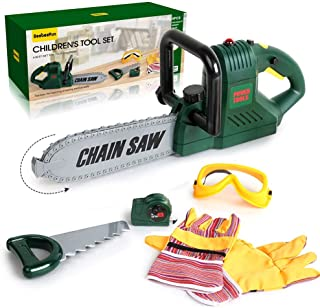 BeebeeRun 6 Pcs Kids Tool Set with Power Chainsaw, Pretend Play Tool Set with Measuring Tape and Hand Tools Accessories fo...