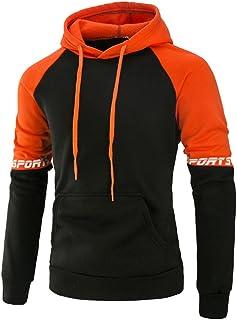 iYBUIA Patchwork Cotton Men's Long Sleeve Hoodie Hooded Sweatshirt Tops Jacket Coat Outwear