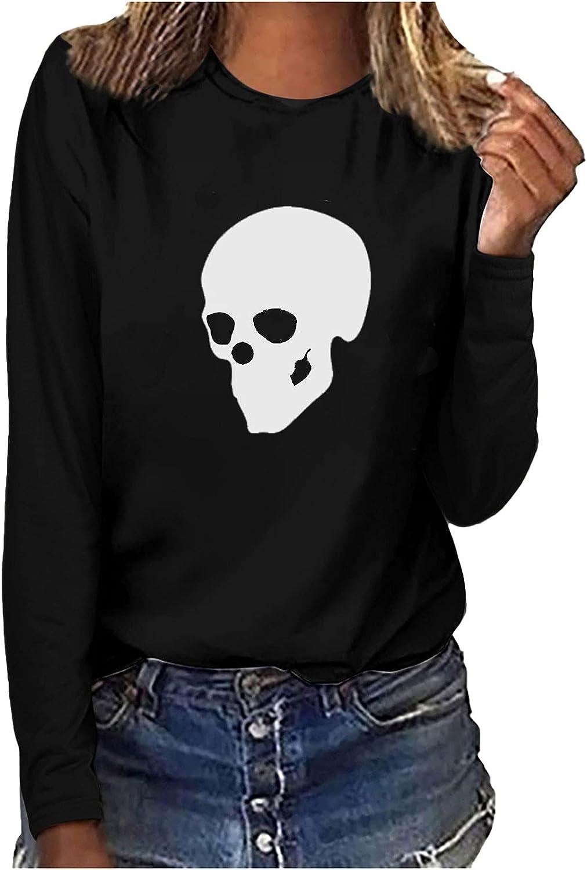 5665 Womens Halloween Tunic Shirt, Long Sleeve Crewneck Luminous Skull Graphic Loose Fit Sweatshirt Tees T-Shirt Blouses