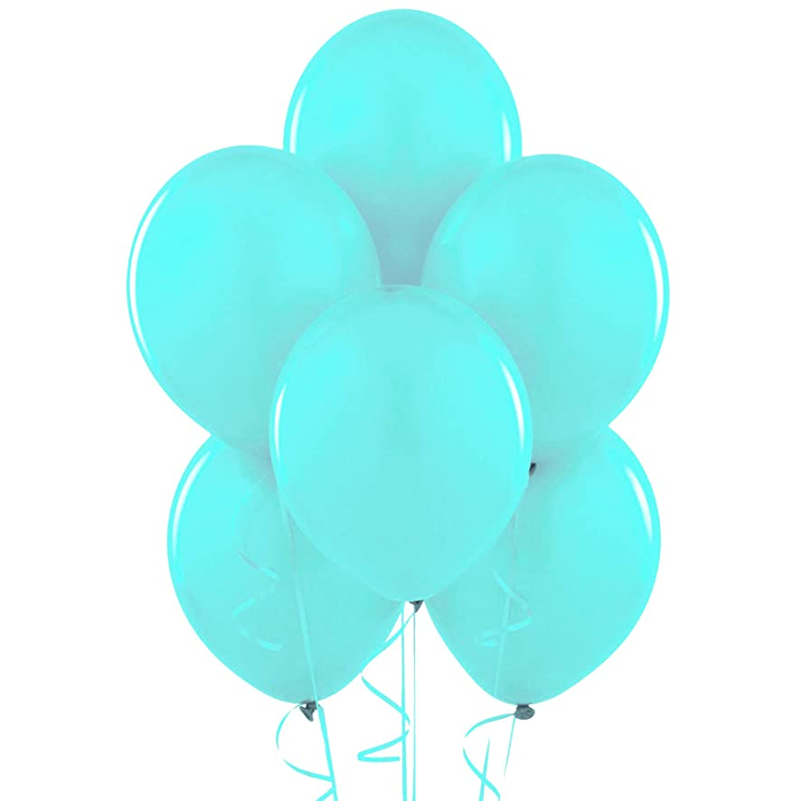 Pastel Turquoise Blue (Tiffany) 12 Inch Thickened Latex Balloons, Pack of 100, Premium Helium Quality for Wedding Bridal Baby Shower Birthday Party Decorations Supplies Ballon Baloon Thinken