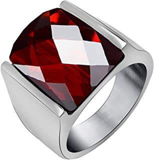 FANSING Men Rings, Imitation Red Agate Ring Stainless Steel, Size 7-12