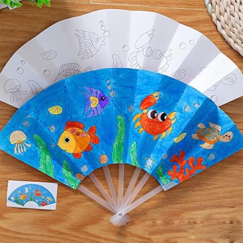 TLBBJ Jouets artisanaux 21cm Peinture Summer Fan DIY Jouets pour Enfants Dessin animé Couleur Animal Graffiti Origami Fan Art Artisanat Jouet créatif Dessin Enfants Enfants Facile (Color : 04)
