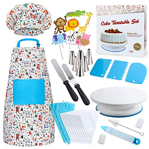Kids Cooking and Baking Set - 38 Pcs Cake Decorating Gift Kit for Girls and Boys Includes Real Kids Apron, Chef Hat, Cake Turntable Decorating Supplies for The Curious Junior Chef Ages 4+ Years