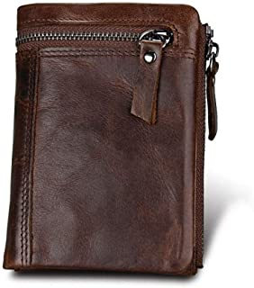 Genuine Leather Cowhide Leather RFID Men Coin Card Wallet with Zipper Coin Pocket (Color : Coffee, Size : S)