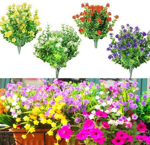 12 pcs Artificial Flowers UV Resistant for Outside Fake Plants Outdoor Bridal Party Wedding Bouquet for Greenery Shrubs Plants Home Garden