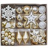 Valery Madelyn 90Pcs Bolas de Navidad de 3-13cm, Adornos de Navidad para Arbol, Decoración Navideños Plástico Blanco y Dorado, Regalos de Colgantes de Navidad (Elegante)