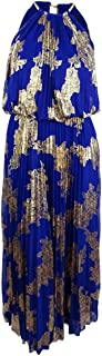 Best halter royal blue pleated maxi dress Reviews