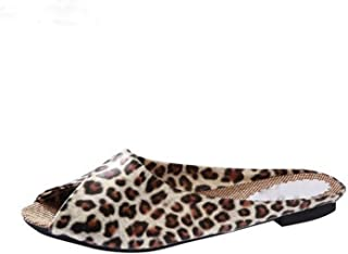 The Flip Flops Soft Shoes Leopard Print Peep Toe Women's Slippers Plus Size 35-40