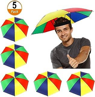 Heqishun 5 Pack Umbrella Hat with Elastic Band, Rainbow Waterproof Fishing Umbrella Hat for Adults Kids Women Men