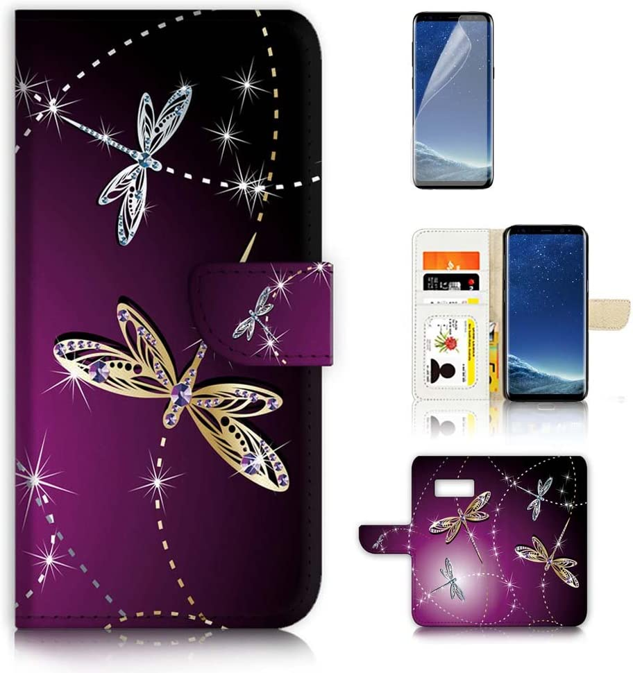 (for Samsung S8, Galaxy S8) Flip Wallet Case Cover & Screen Protector Bundle - A20232 Purple Dragonfly