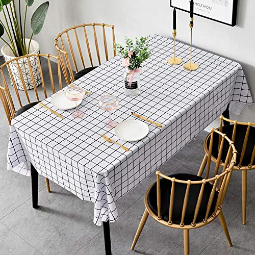 Nice-DoormatsTablecloth waterproof, anti-scald, oil-proof, table cloth desk Nordic coffee table table mat-White grid_round 120cm