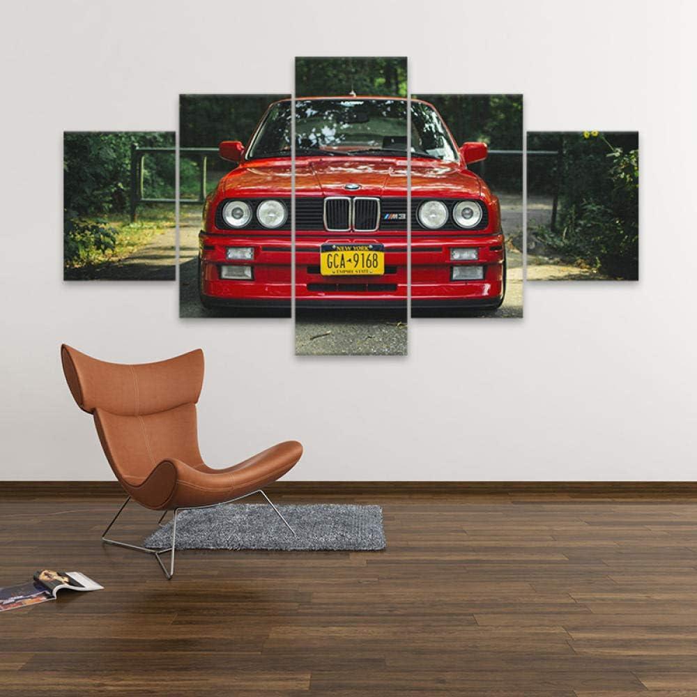 ZDDBD Leinwand gedruckt Poster Home Decor 5 Stück HD Retro BMW M Rot Sportwagen Gemälde Wandkunst Bilder Wohnzimmer Modular