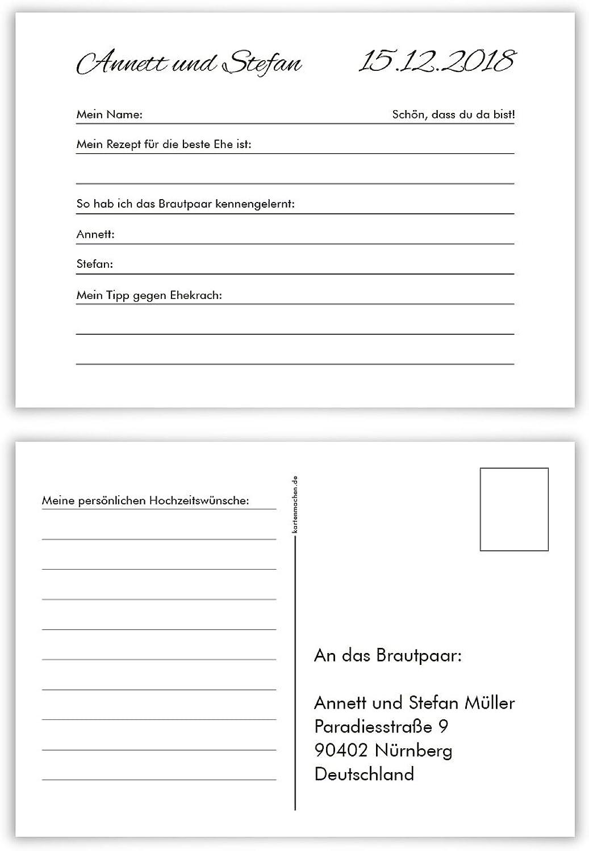 60 x Hochzeitsspiel Fragerunde Postkarte Fragen Antworten - Schlicht schwarz and Weiß B078HCJ544 | Großer Verkauf