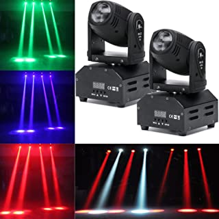LED Head Moving Light Rotating Moving Head DMX512 Sound Activated Master-slave Auto Running RGBW Color Changing Beam Light for Disco KTV Club Party (2Pack)