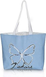 DEMOMENT Einkaufstasche aus Segeltuch mit Reißverschluss und Blumenmuster, für Reisen oder Strand