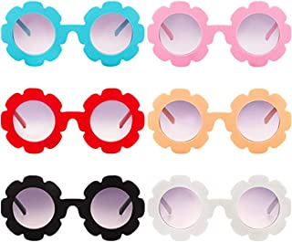 6 Pack Unisex Kids Flower Shape Sunglasses Beach Outdoor Decorative Eyewear