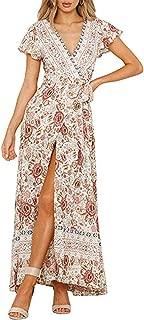 Women's Summer Boho Floral Print Wrap V Neck Short Sleeves Split Beach Party Maxi Dress