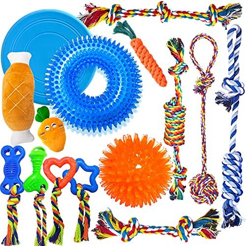 TNFUU Spielzeug für Hunde Interaktives Plüsch Kauspielzeug 7er Pack für Welpen, langlebiges Haustierspielzeug Masse mit Quietschen für fmittelgroße und...