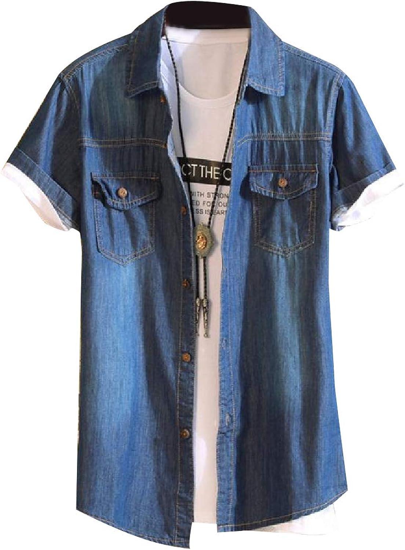 ba70c8fc187 TaoNice Mens Faded Faded Faded Original Fit Fold-Collar Cowboy Casual Shirts  9e647c