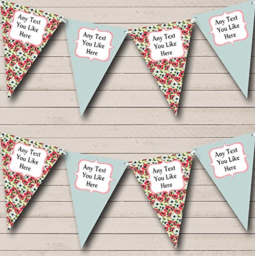 Party Banner Bunting Vintage Salie Gepersonaliseerde Shabby Chic Tuin Thee Large