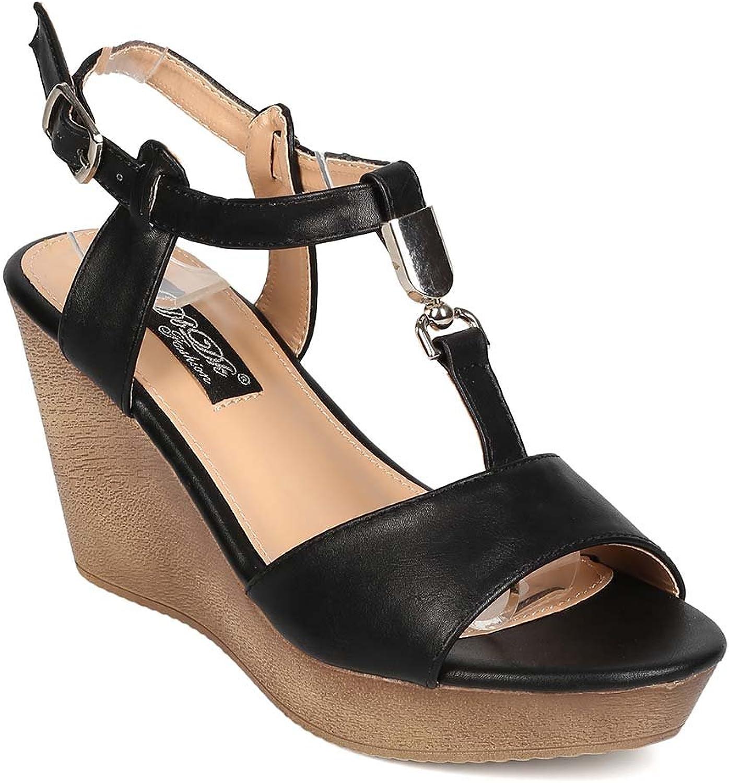 DBDK EH85 Women Leatherette Open Toe Ankle Strap Platform Wedge Sandal - Black