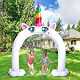 Inflatable Unicorn Water Sprinkler, More Stable Inflatable Unicorn Yard Large Outdoor Summer Toys Inflatable Water Park Fun Backyard Fountain Unicorn Sprinkler for Kids