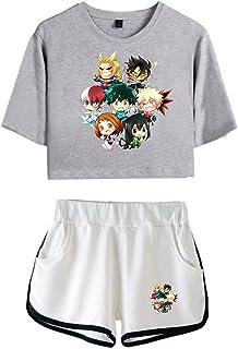 JHDESSLY Mijn Anime Hero Academia Cosplay Crop Top Shorts Bakugou Korte Mouw Sportkleding 2 Stuk Outfits voor Meisje Sets