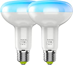 Smart Light Bulb No Hub Required, BR30 Flood Light Bulb, A19 E27 11W (100w Equivalent) 2700k-6500k Dimmable RGBCW Multicol...