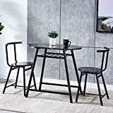 nozama 3 Piece Black Wooden Dining Table with 2 Chairs Compact Kitchen Table Set for Kitchen Room Pub Bistro Breakfast Table Set for Bar