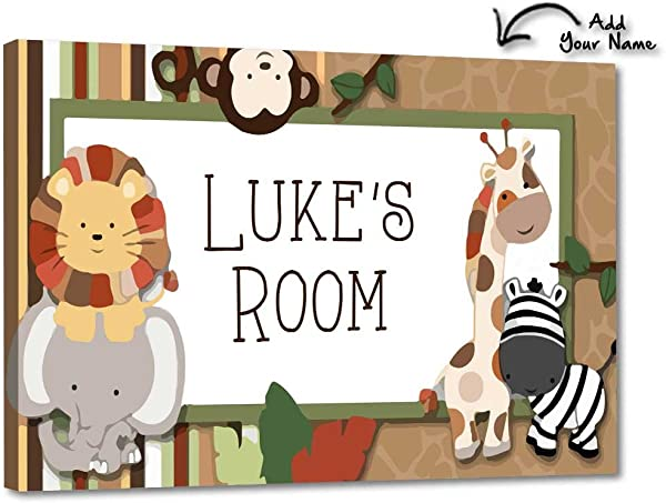 Nutcase Personalized Kids Baby Room Door Sign Name Plate Wall Plaque Screws Included 12 X8 Little Boy Jungle
