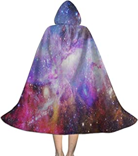 Clokes with Hoods for Kids Colorful Galaxy Nebula Hooded Cape for Halloween Costumes Riding Cosplay