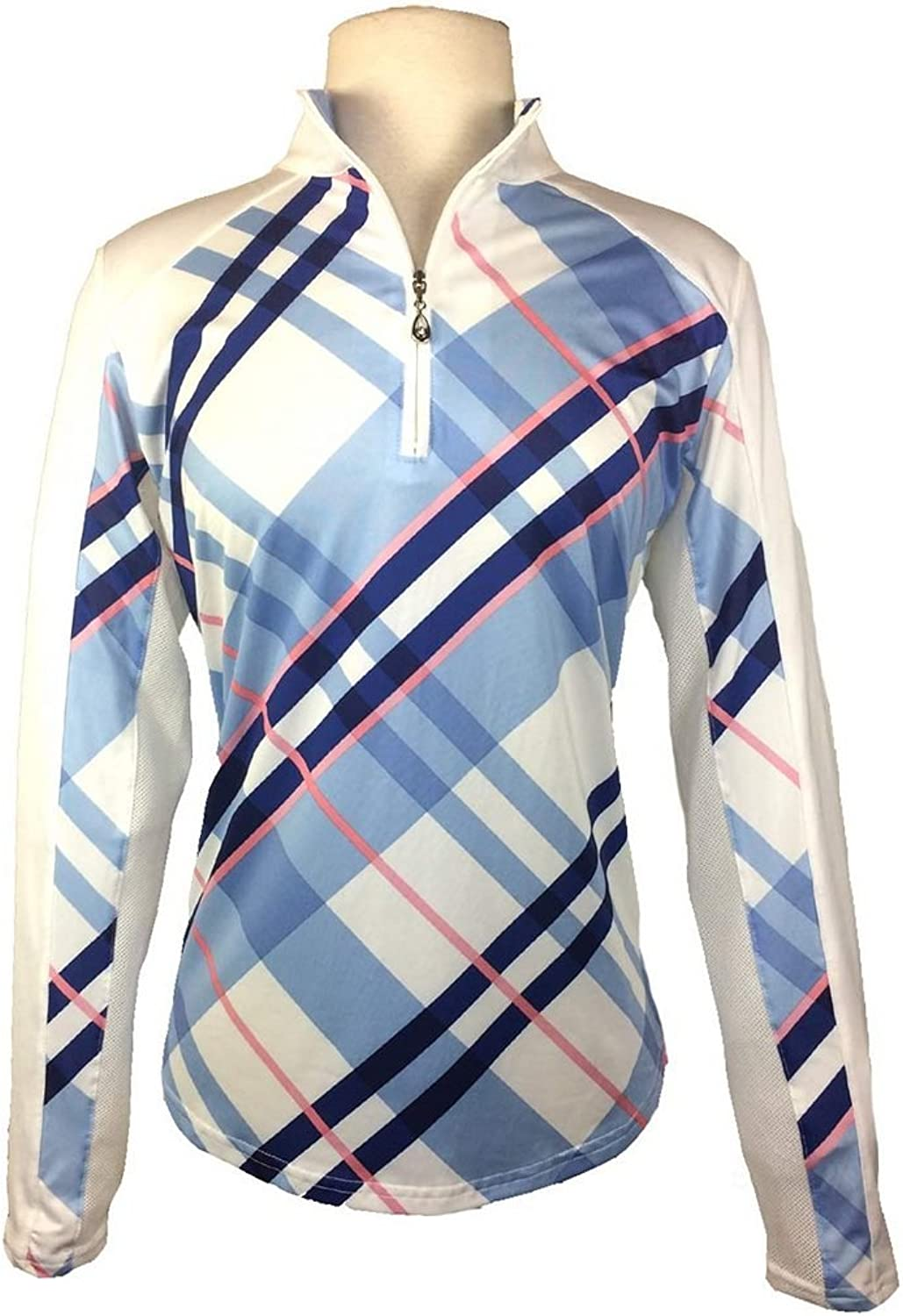 SanSoleil UV 50 SolCool Print Zip Mock Top with Vent Back Womens