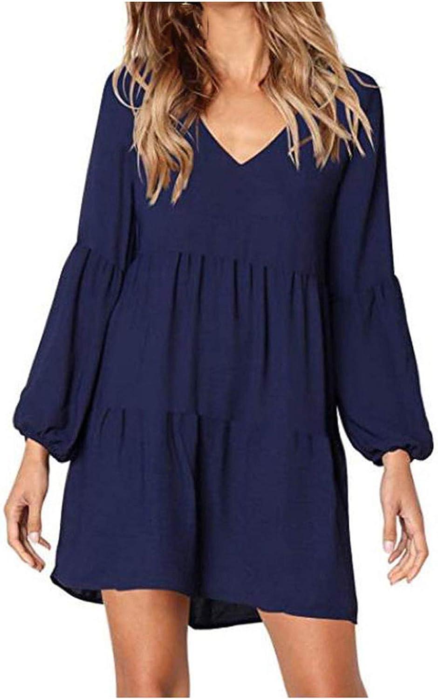 Women Summer Tunic Dress V Neck Long Sleeve Casual Loose Flowy Swing Shift Ruffle Dresses for Beach Smocked Dress