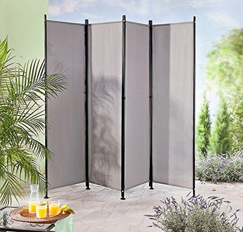 IMC Paravent 4-teilig dunkelgrau Raumteiler Trennwand Sichtschutz, faltbar/flexibel verstellbar, wetterfester Polyester-Stoff, Schwarze Metallstangen