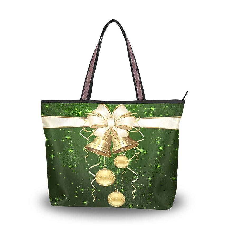 効果的伝染性付属品マキク(MAKIKU) トートバッグ クリスマス 飾り 鈴柄 グリーン レディース 大容量 キャンバス 布 a4 軽量 2way 肩掛け 大きめ ファスナー M L