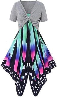 Ranta, pullover da donna, estivo, con stampa a farfalla, set da 2 pezzi, per tutti i giorni, casual