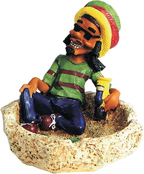 Rockin Gear Ashtray Jamaican Rasta Figurine Marijuana Weed Smoking Stone Ashtray