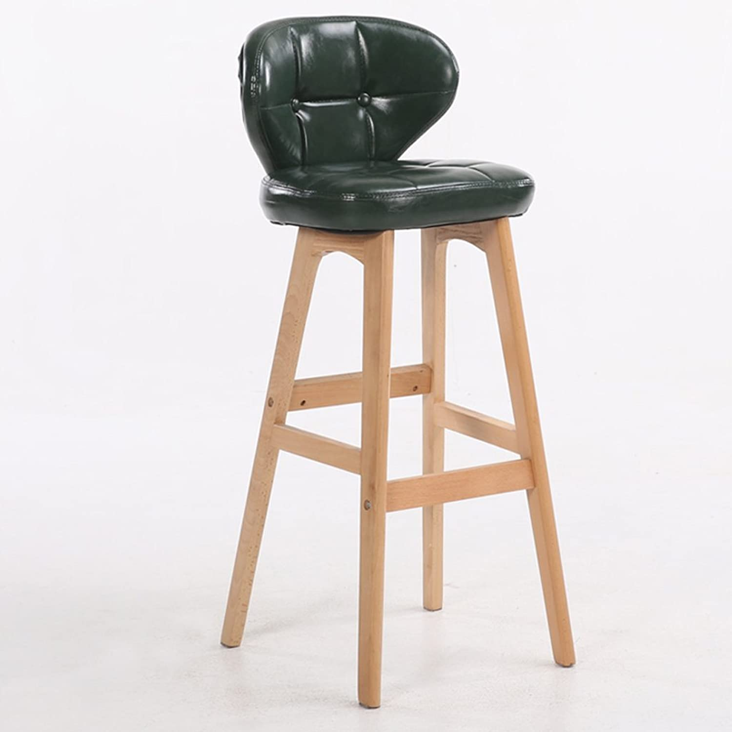 Bar Stool Wooden Bar Chair Leather backrest Kitchen Breakfast Chair Retro, 1Pcs, 40  37  68cm (color   Green)