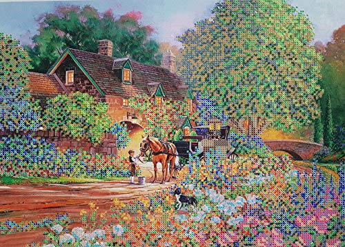 Cottage Beaded Embroidery kit Estate Beaded Cross Stitch Summer House Village...