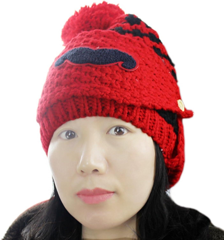 Women's Winter Doubble Layers Fleece Lined Knitted Ski Beard Face Mask Hat Cap