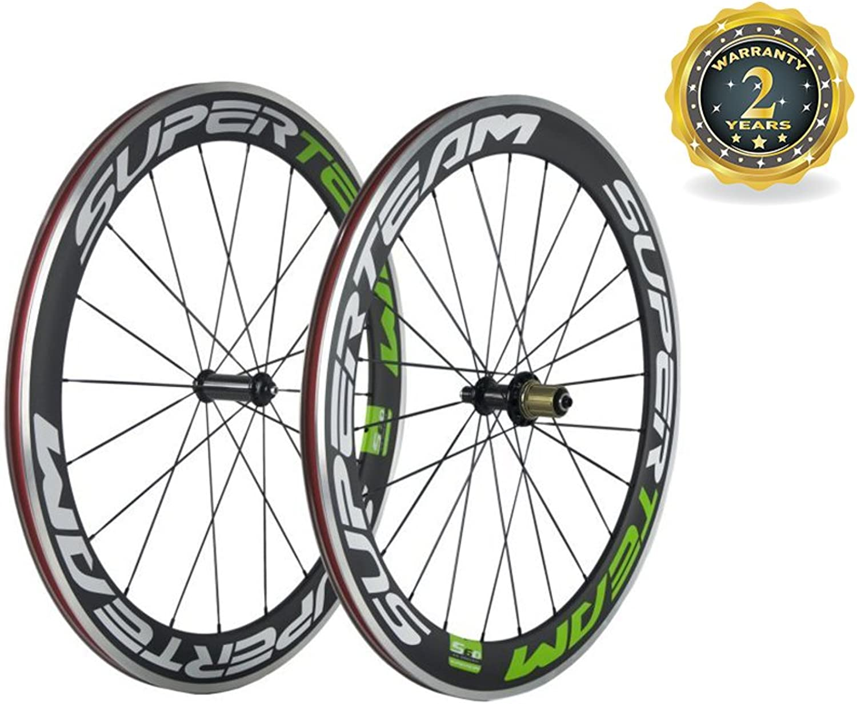 Superteam 60mm Carbon Fiber Alloy Clincher Wheelset 23mm Width Alloy Rim for Bike 700c