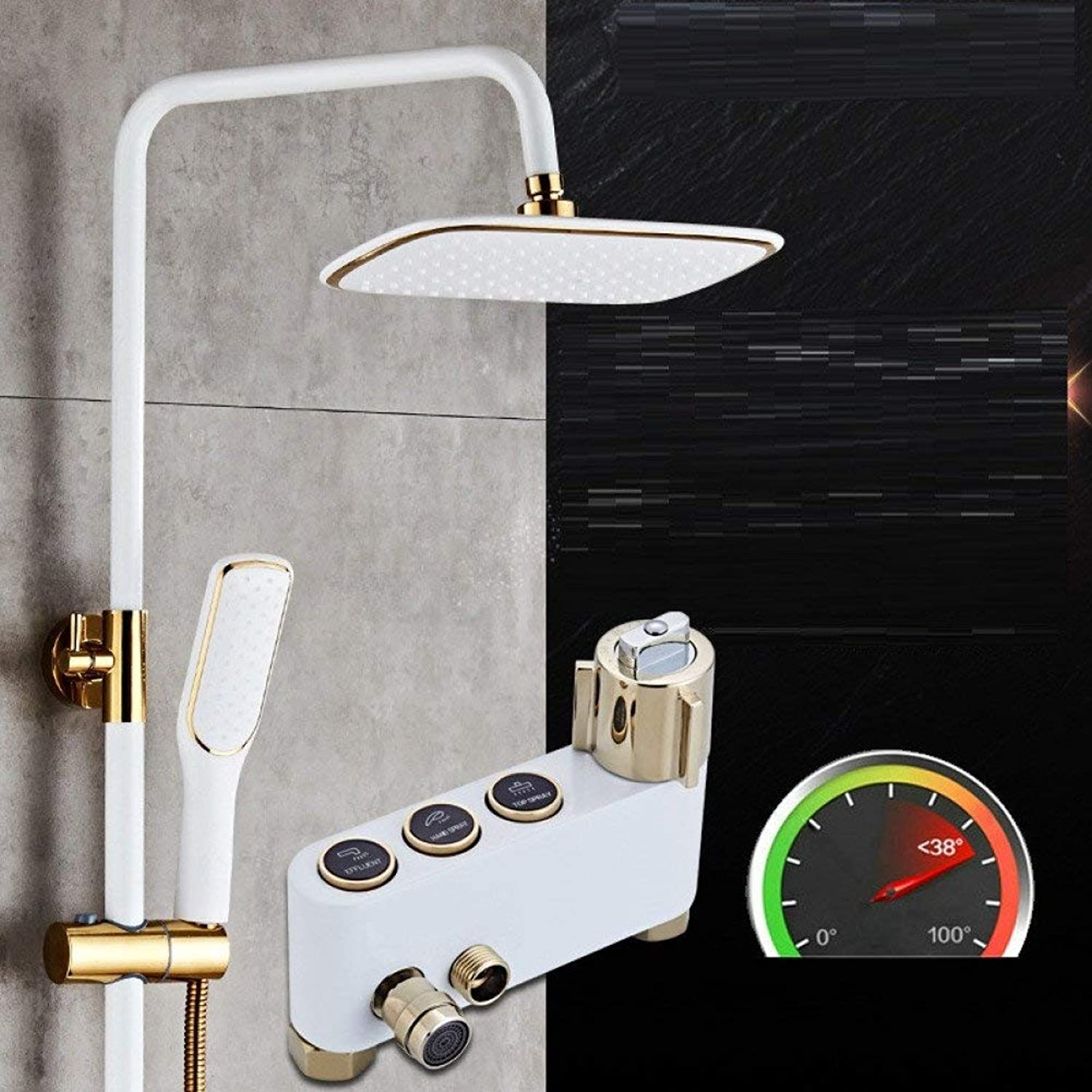 Shower Cooking Paint White Circle Button Constant Temperature Third Valve in Copper End Shower Shower Shower with Hand
